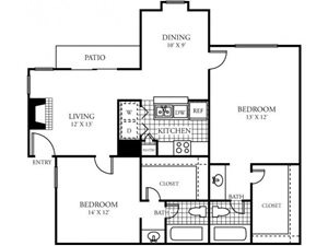 Silverado Apartments|F Floor Plan 1 Bedroom 1 Bath