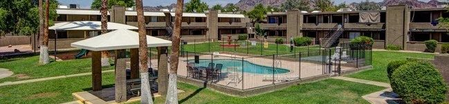 pool and pool patio at The Willow Apartments in Phoenix, AZ