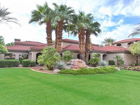 open green grass courtyard area