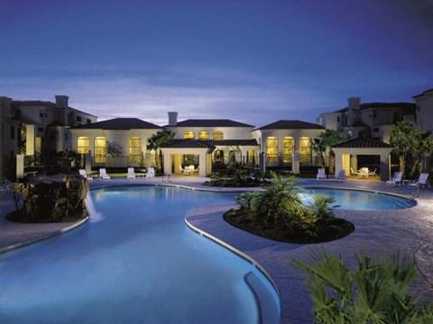 night shot of community pool
