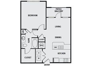 Sorrel Fairview| A1H Floor Plan1 Bedroom 1 Bath