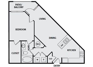 Sorrel Fairview| A3 Floor Plan 1 Bedroom 1 Bath
