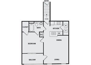 Sorrel Fairview| A4 Floor Plan 1 Bedroom 1 Bath
