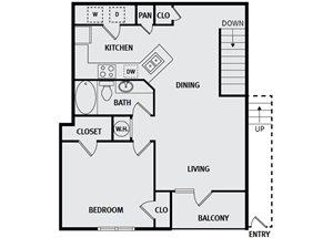 Sorrel Fairview| A5 Floor Plan 1 Bedroom 1 Bath