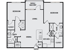 Sorrel Fairview| B1H Floor Plan 2 Bedroom 2 Bath