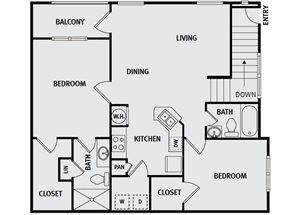 Sorrel Fairview| B2 Floor Plan 2 Bedroom 2 Bath