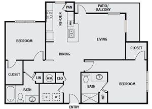 Sorrel Fairview| B3 Floor Plan 2 Bedroom 2 Bath