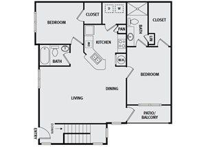 Sorrel Fairview| B4 Floor Plan 2 Bedroom 2 Bath