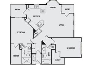 Sorrel Fairview| B6H Floor Plan 2 Bedroom 2 Bath