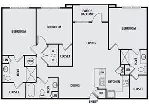 Sorrel Fairview| C1H Floor Plan 3 Bedroom 3 Bath