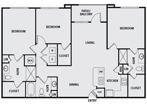 Sorrel Fairview| C1 Floor Plan 3 Bedroom 3 Bath