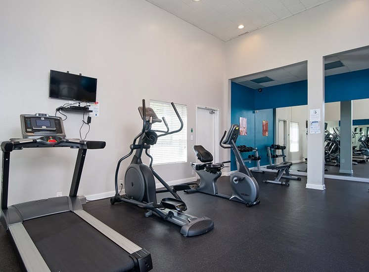 Modern Fitness Center at Parc at 5 Apartments, Downey, California