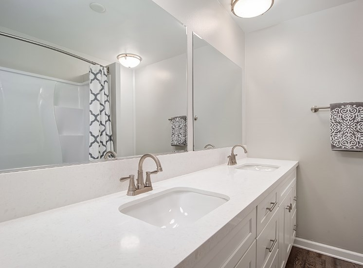 Bathroom with vanity sink at Parc at 5 Apartments, Downey, California