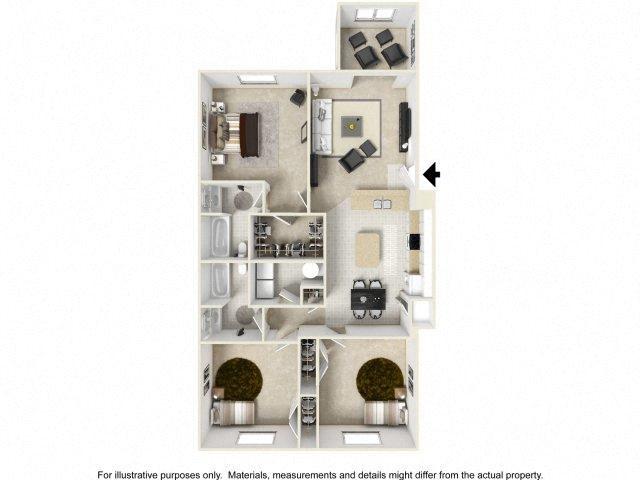3 BEDROOM WITH SUNROOM Floor Plan 3
