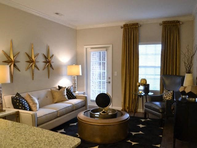 Living Room With Upgraded Modern Lighting at Horizons at Steele Creek, Charlotte, NC, 28273