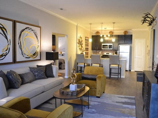Modern Living Room Furnishings at Horizons at Steele Creek, Charlotte, NC, 28273