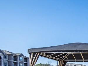 Shaded Lounge Area by Pool at Adeline at White Oak, North Carolina, 27529
