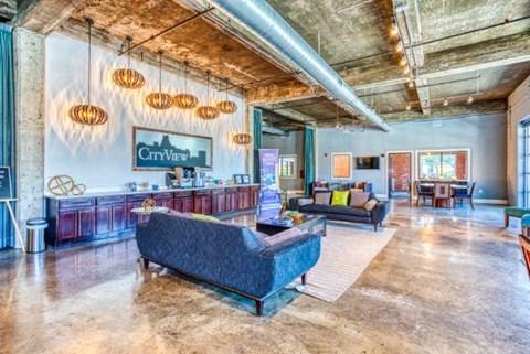 Posh Lounge Area In Clubhouse at CityView Apartments, Greensboro, North Carolina