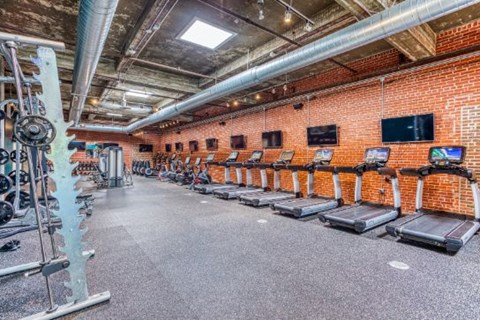 Fitness Center With Modern Equipment at CityView Apartments, Greensboro, 27406