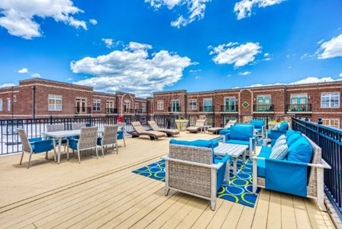 Entertainment Lounge By Pool at CityView Apartments, Greensboro, NC