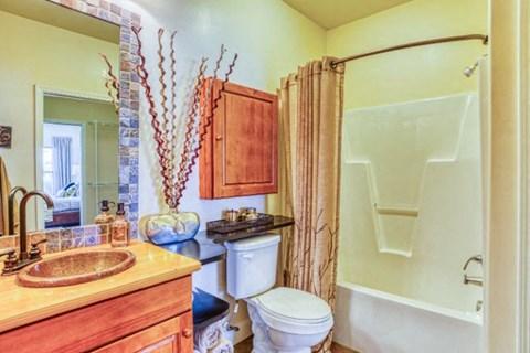 Renovated Bathrooms With Quartz Counters at CityView Apartments, North Carolina, 27406