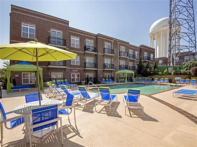 Shaded Lounge Area by Pool at CityView Apartments, Greensboro, 27406