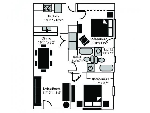 Conrail Floor Plan at CityView Apartments, North Carolina, 27406