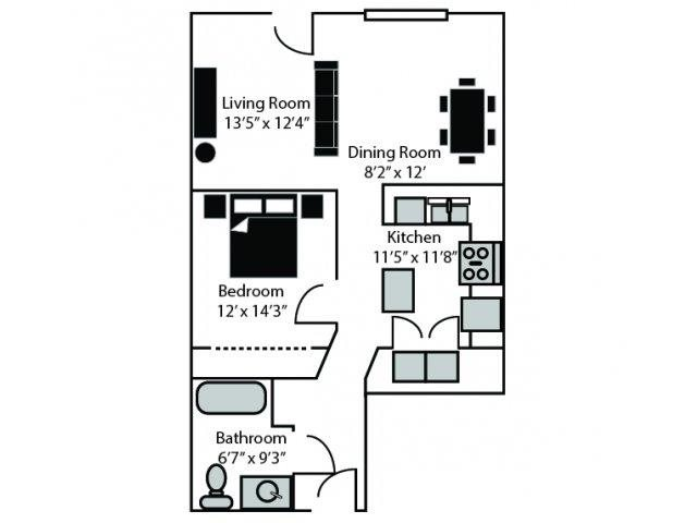 Norfolk Floor Plan at CityView Apartments, Greensboro, 27406