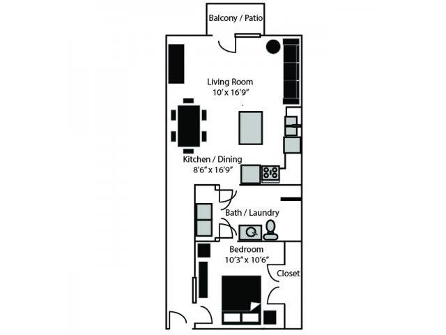 OHenry Floor Plan at CityView Apartments, Greensboro