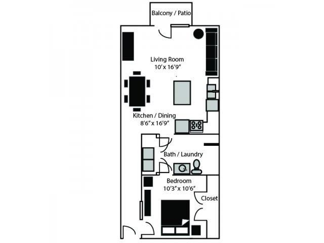 OHenry Floor Plan at CityView Apartments, Greensboro