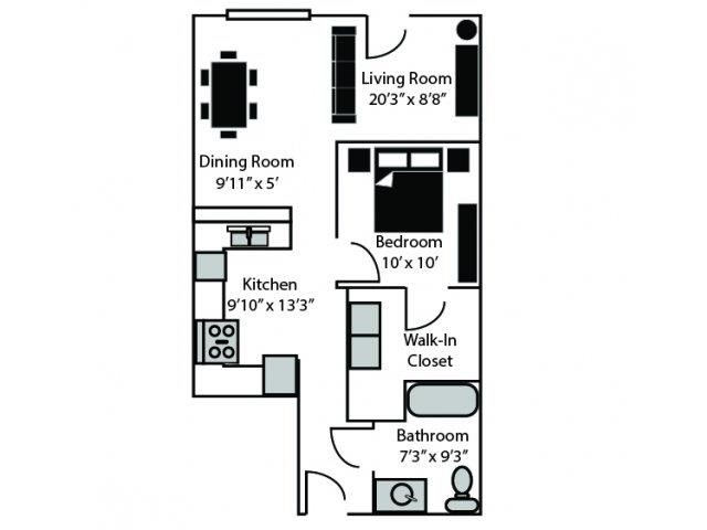 Wick Floor Plan at CityView Apartments, Greensboro, NC, 27406