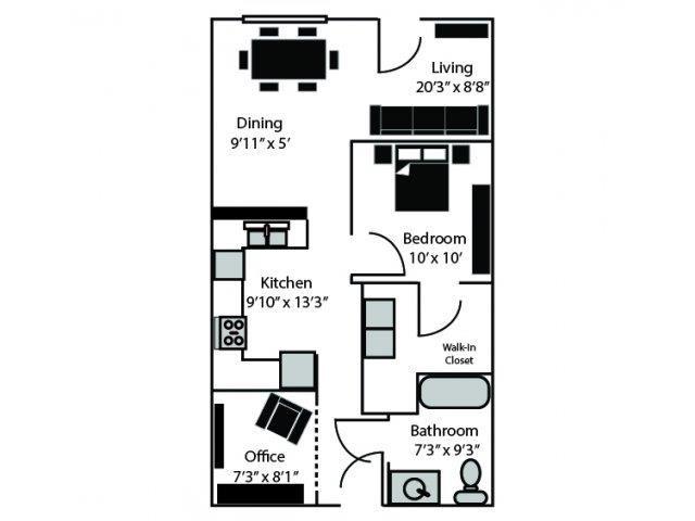 Wabash Floor Plan at CityView Apartments, Greensboro, NC