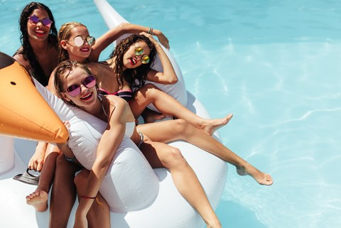 Having Fun In Pool at CityView Apartments, Greensboro, NC, 27406