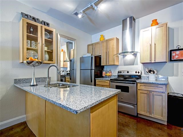 Furnished Kitchen at CityView Apartments, Greensboro, NC