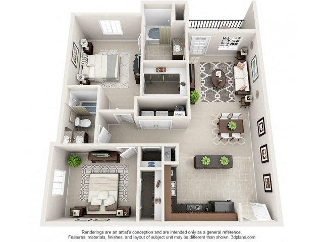 Preston Floor Plan at Innisbrook Village Apartments, Greensboro, NC, 27405