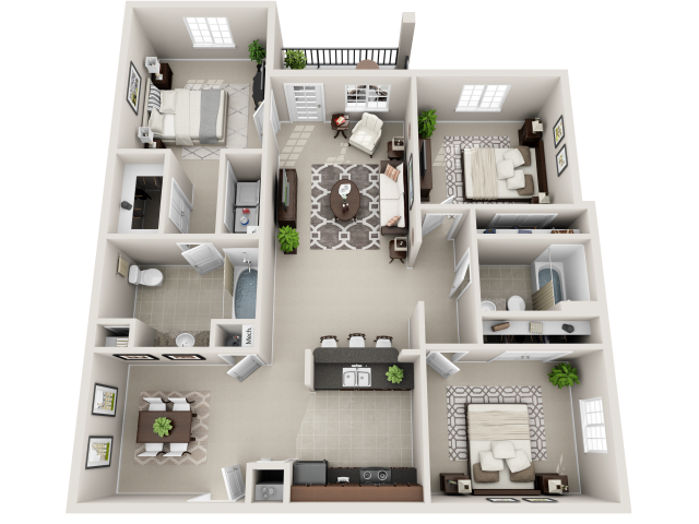 Preston Floor Plan at Innisbrook Village Apartments, Greensboro