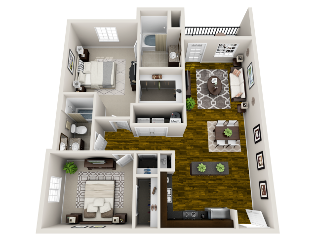 Harmony Floor Plan at Bacarra Apartments, Raleigh, 27606