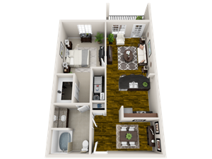 Tranquility Floor Plan at Bacarra Apartments, Raleigh, 27606