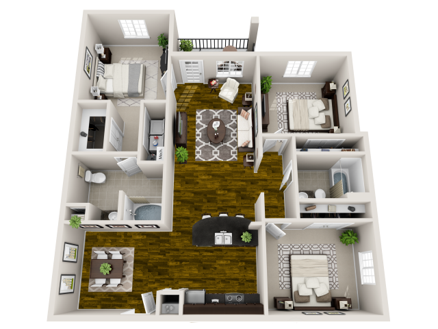 Zen Floor Plan at Bacarra Apartments, North Carolina, 27606