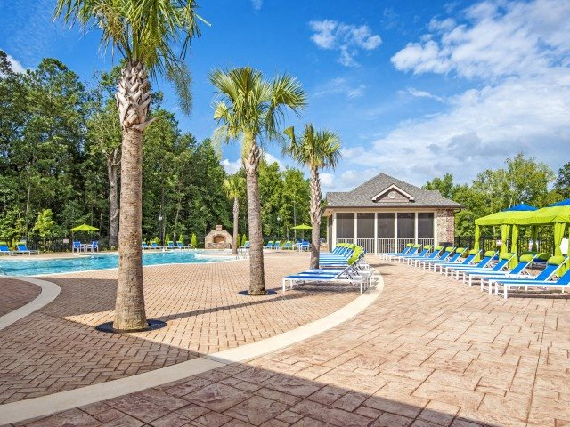Tropical Resort-Inspired Pool at Bacarra Apartments, North Carolina, 27606