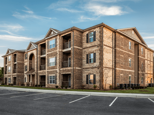 Beautiful Brick Apartment Exterior at Bacarra Apartments, Raleigh, North Carolina