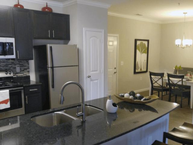 Kitchen Cabinets at Bacarra Apartments, Raleigh, North Carolina