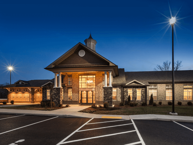Front Office Entrance at Night at Bacarra Apartments, Raleigh, 27606