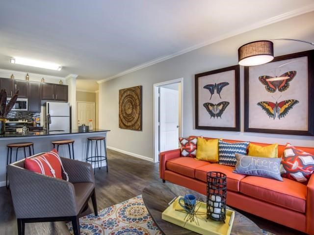 Trendy Living Room Interiors at Bacarra Apartments, Raleigh