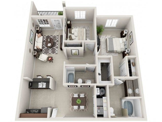 Floor plan at Glass Creek Apartments, Tennessee, 37122