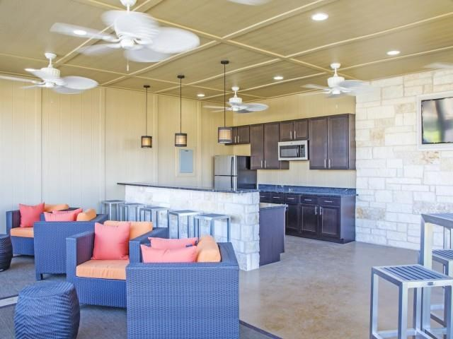 Clubhouse with Kitchen Appliances at Arrington Ridge, Round Rock