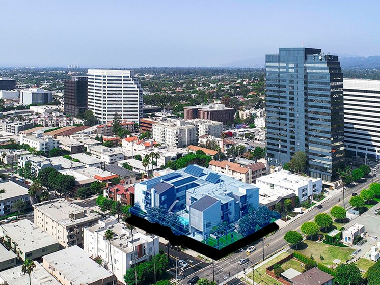 Aerial drone image of 1249 South Bundy at Bundy and Wilshire.