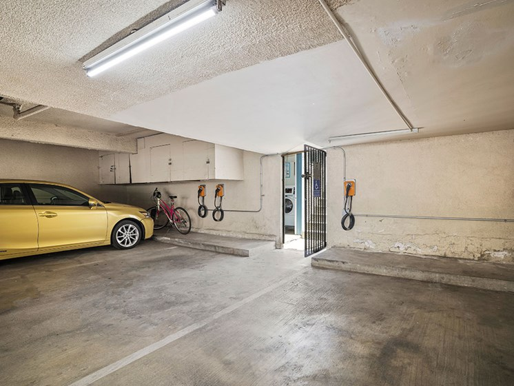 Parking garage with EV car chargers.