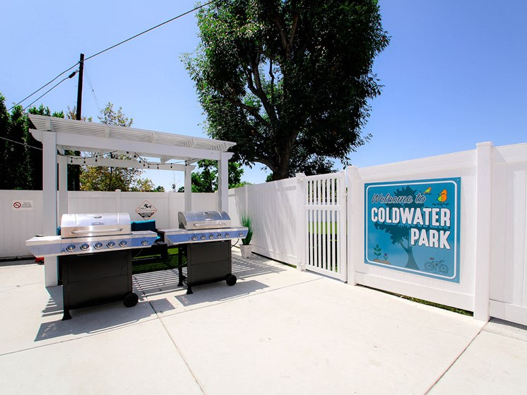 The entry to our private community park with barbecues and seating area.