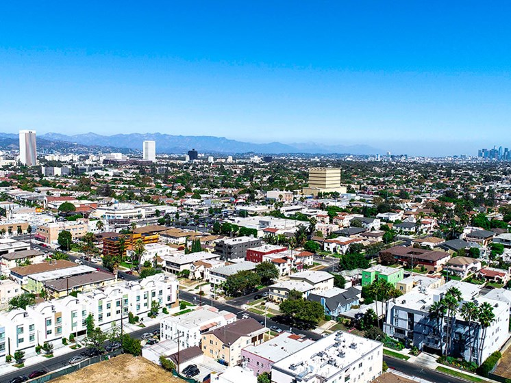 Aerial drone shot of the building and Pico Fairfax neighborhood.